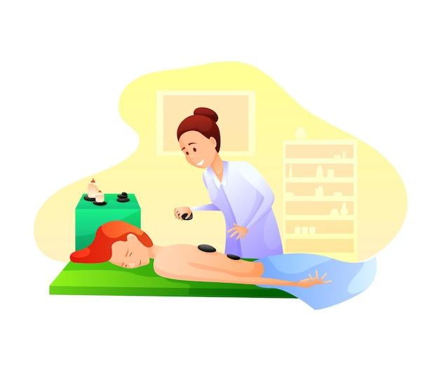 Terapia de masaje con piedras calientes