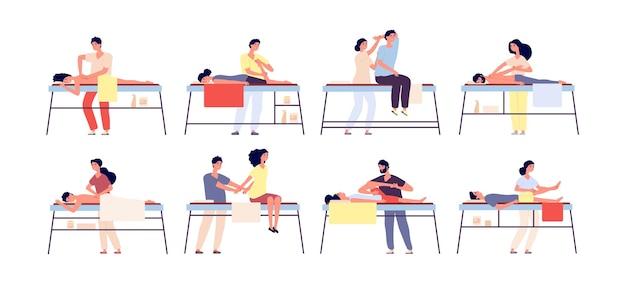 Terapia de masajes. tratamiento de spa relajante, terapeutas de rehabilitación y pacientes.