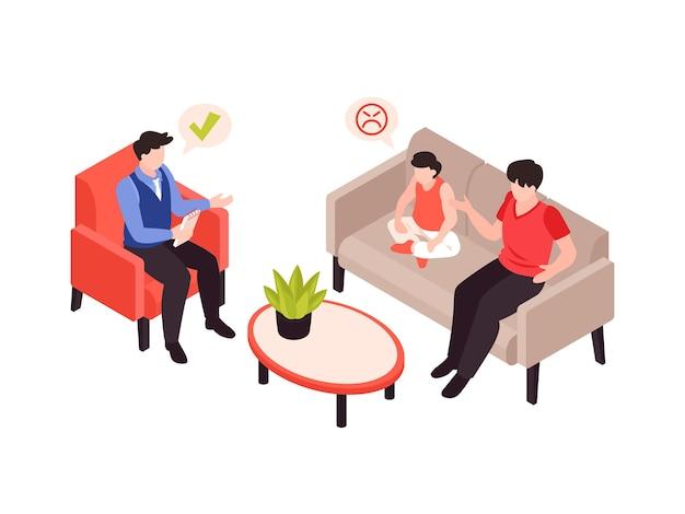 Terapia de psicología con ilustración isométrica de padres e hijos.