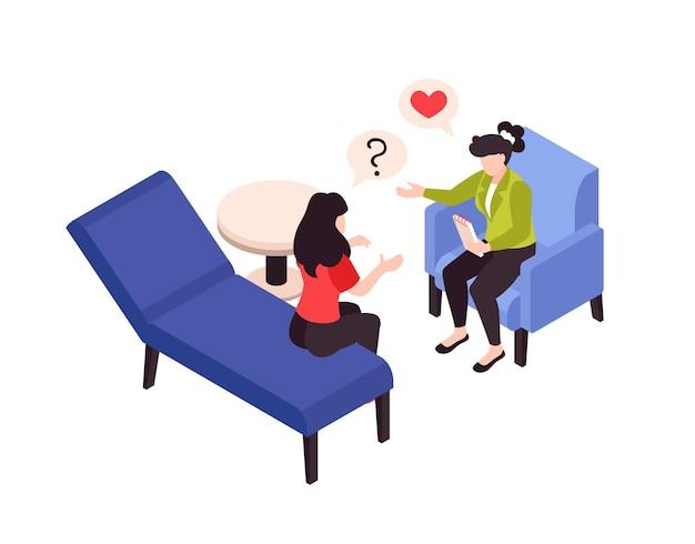 Terapia de psicología y problemas de amor ilustración isométrica.