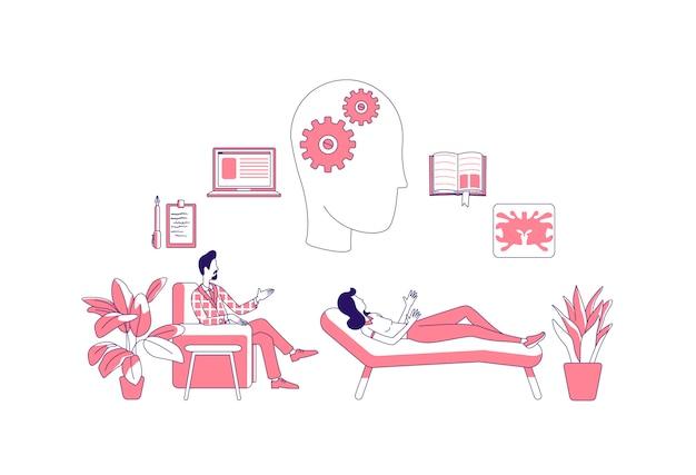Terapia psicológica delgada línea ilustración del concepto. psicólogo y paciente personajes de dibujos animados en 2d para diseño web. psicoanálisis, consulta, tratamiento de la depresión idea creativa