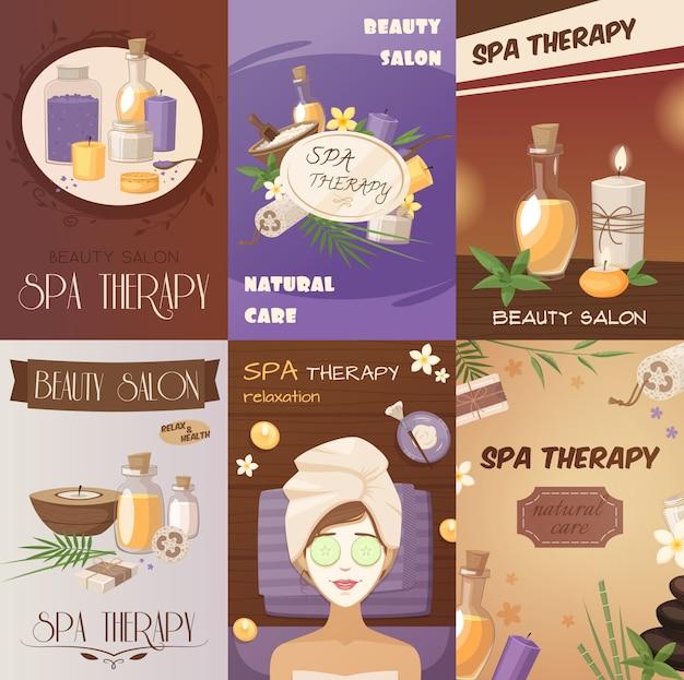 Terapia de spa y carteles de dibujos animados de belleza.