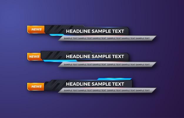Tercer banner inferior. tv, bares, set. transmitiendo video. noticias de última hora, noticias deportivas, interfaz, plantilla de diseño
