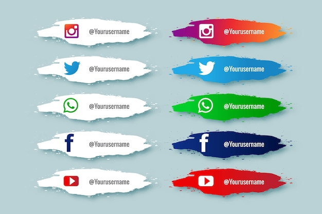 Tercera colección de redes sociales con diseño de salpicaduras de pintura