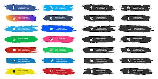 Tercios inferiores de redes sociales con colección de pinceladas de acuarela