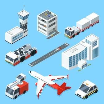 Terminal aérea, torre aerodinámica, avión y diferentes máquinas de soporte de aeropuerto.