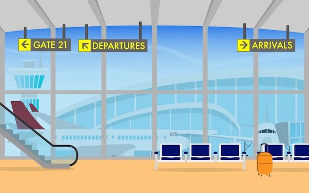 Terminal del aeropuerto con avión en el fondo.