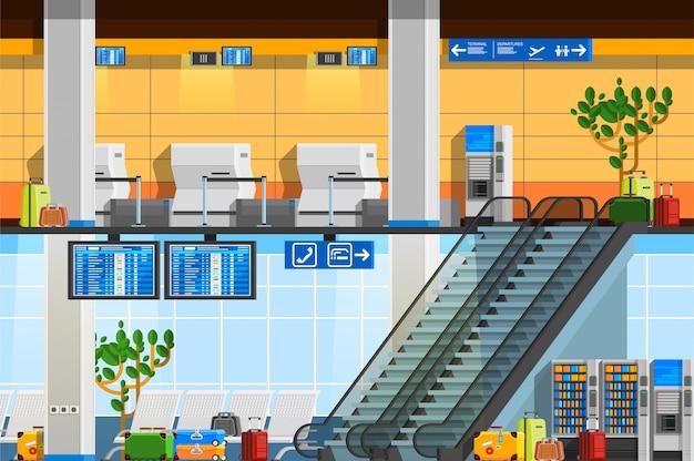 Terminal de aeropuerto de composición plana