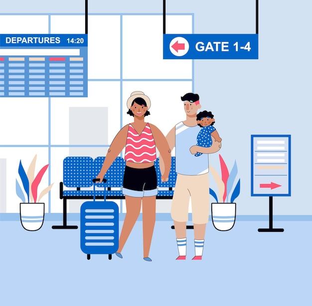 Terminal del aeropuerto con la familia esperando el vuelo aéreo en la sala de salidas