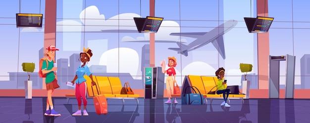 Terminal del aeropuerto con gente esperando.