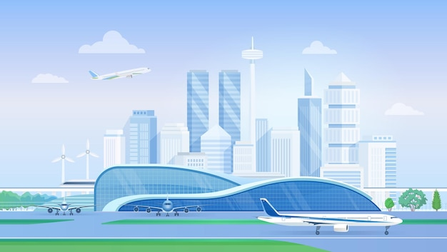 Terminal del aeropuerto con horizonte de la ciudad moderna de avión con aviones en rascacielos de pista