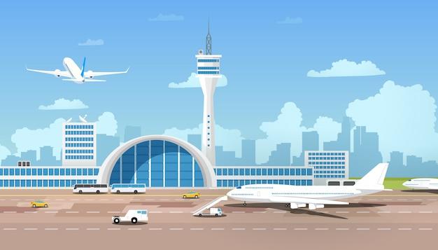 Terminal de aeropuerto moderno y vector de dibujos animados fuera de control