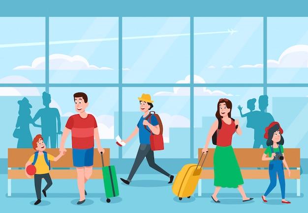 Terminal del aeropuerto ocupado. viajeros de negocios, viajes de vacaciones familiares y viajero esperando en la ilustración de terminales de aeropuertos