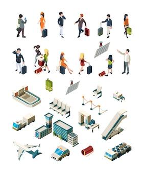 Terminal de aeropuerto. personas pilotos asistentes de vuelo viajeros aeropuerto interior equipaje embarque boleto vector isométrico