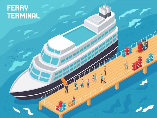 Terminal de ferry con turistas de buques modernos y cargadores con carga en la ilustración isométrica del muelle