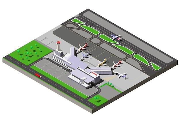 Terminal isométrica del aeropuerto internacional con torre de control de tráfico y aviones de pasajeros.