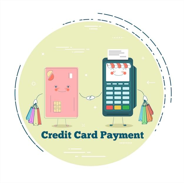 Terminal pos y tarjeta de crédito en estilo line art