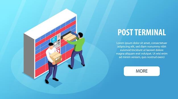 Terminal postal con banner de autoservicio