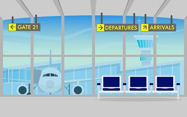 Terminal de salida del aeropuerto con avión en el fondo.