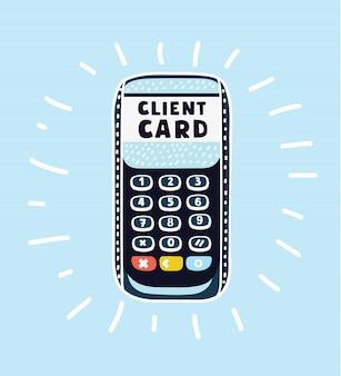 Terminal de tarjeta de crédito en blanco en el lado derecho de la imagen