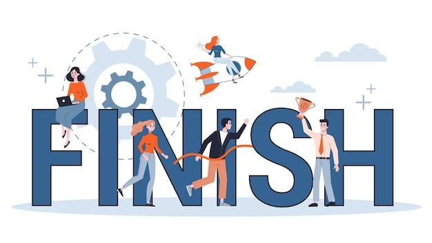 Terminar el concepto de banner web. idea de éxito empresarial