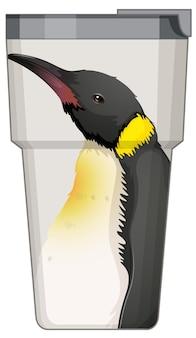 Un termo blanco con estampado de pingüinos.