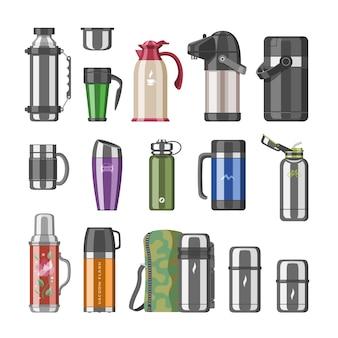 Termo matraz de vacío o botella de acero inoxidable con bebida caliente café o té ilustración conjunto de recipiente embotellado de metal o taza de aluminio sobre fondo blanco.