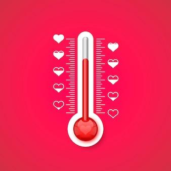El termómetro de la escala del amor con los símbolos del corazón. ilustración vectorial