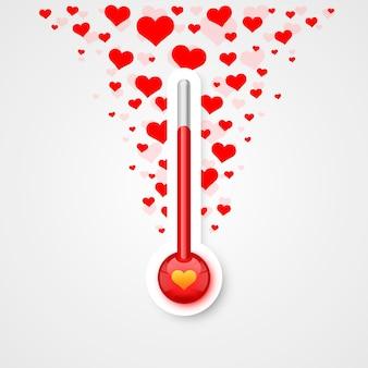 Termómetro de escala de amor con símbolos voladores del corazón. ilustración vectorial