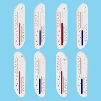 Termómetro exterior. vista isométrica. grados celsius y fahrenheit. el medidor de temperatura. los grados de la escala. ilustración vectorial.