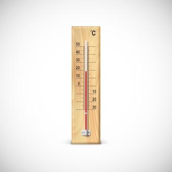 Termómetro sobre base de madera con escala celsius