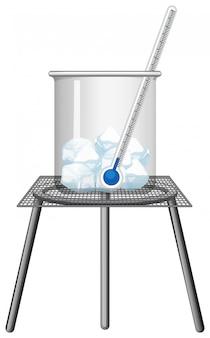 Termómetro en una taza de hielo