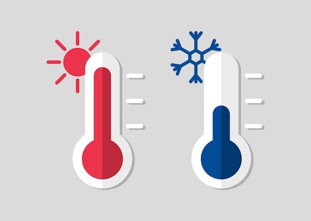 Termómetro con temperatura fría o caliente. termómetros meteorológicos celsius.