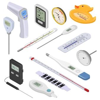 Termómetro vector templado medición celsius fahrenheit escala frío caliente grado clima isométrico conjunto de meteorología equipos médicos medición de temperatura aislado