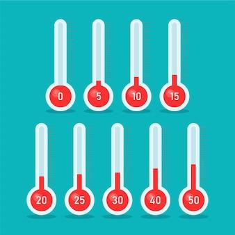Termómetros con diferentes temperaturas en estilo de moda de dibujos animados