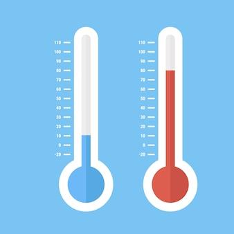 Termómetros de meteorología celsius y fahrenheit