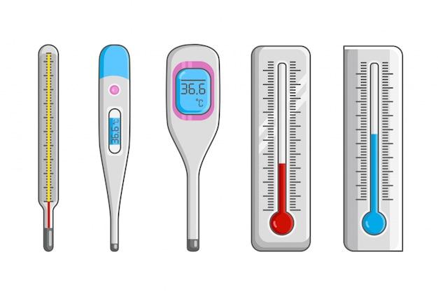 Termómetros de meteorología en grados celsius y fahrenheit que miden calor y frío