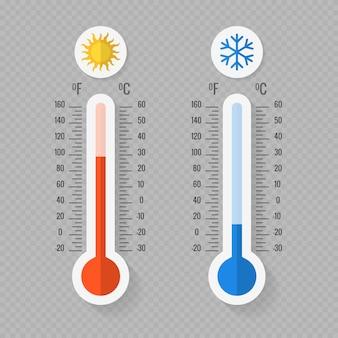 Termómetros meteorológicos calientes y fríos