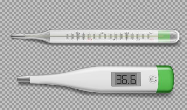 Termómetros realistas electrónicos y dispositivos de vidrio.