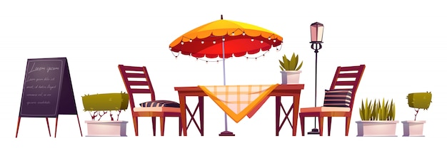 Terraza de verano, café de la ciudad al aire libre, cafetería