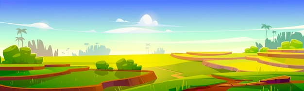 Terrazas de campo de arroz asiático en la ilustración de dibujos animados de montañas.