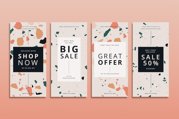 Terrazzo style sale instagram stories set