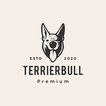 Terrier bull dog hipster vintage logo icono ilustración
