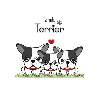 Terrier perro familia padre madre y bebé recién nacido.