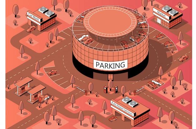 Territorio isométrico 3d con estacionamiento de varios pisos.