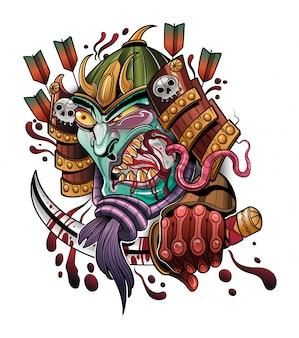 Terrorífico demonio japonés samurai comiendo una rata
