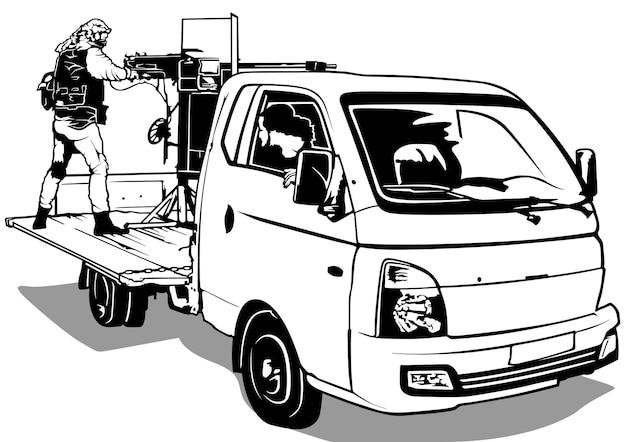 Terrorista con ametralladora en camioneta
