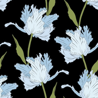 Terry tulipanes azules sobre negro. patrón sin costuras.