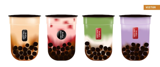 Tés de burbujas de boba realistas en tazas