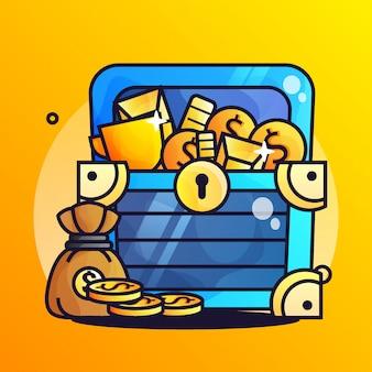 Tesoro de oro con ilustración de gradiente de moneda